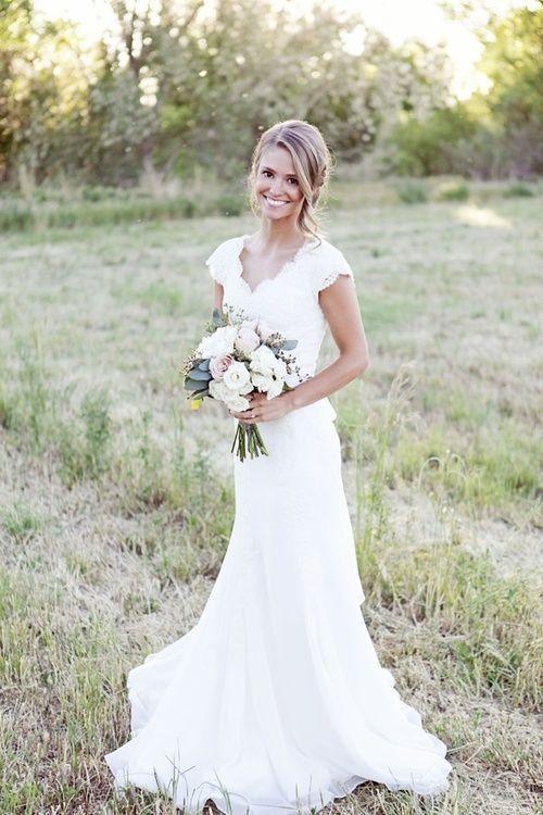 V neck cap sleeves lace chiffon white garden wedding by Yukigown, $329.00