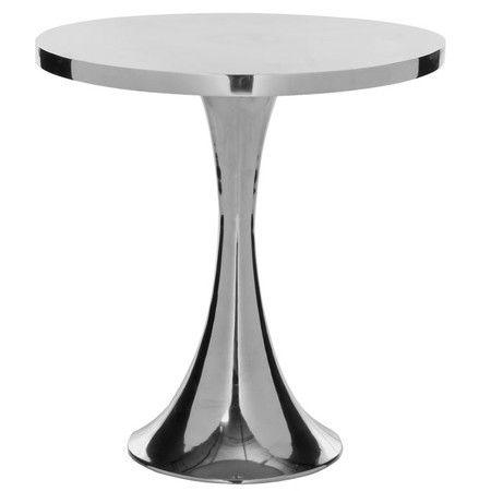 Metallic end table with an hourglass base.     Product: End table Construction Material: Aluminum  Color:...
