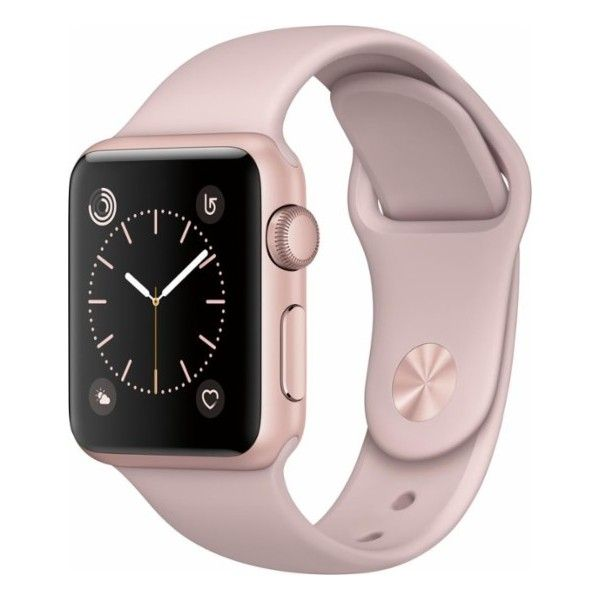 Apple Apple Watch Series 2 42mm Rose Gold Aluminum Case Pink Sand... ($299) ❤ liked on Polyvore featuring jewelry, watches, red gold watches, sport jewelry, rose gold jewellery, pink wrist watch and pink watches