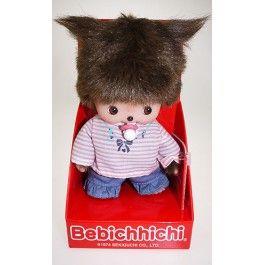 Bebichichi 16 cm meisje matroos. Een baby monchichi met gestreept shirt.