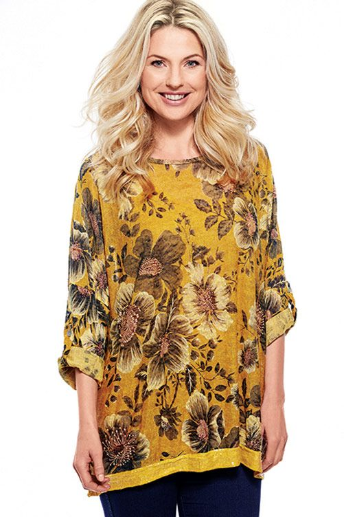 Floral Printed Top With Sequin Embellishments