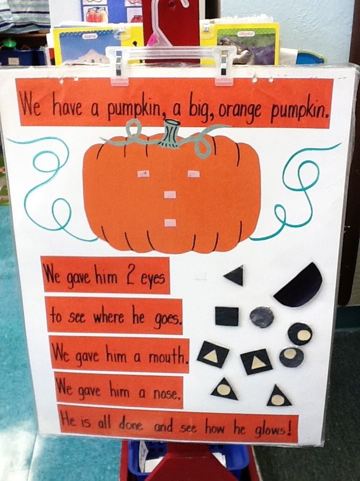 We have a pumpkin Chart. I would put it on a magnetic board and have multiple shapes for each face feature. Laminate the sentences to write and erase. We would first do this activity as a class. Then have it set up for kids to do on their own.