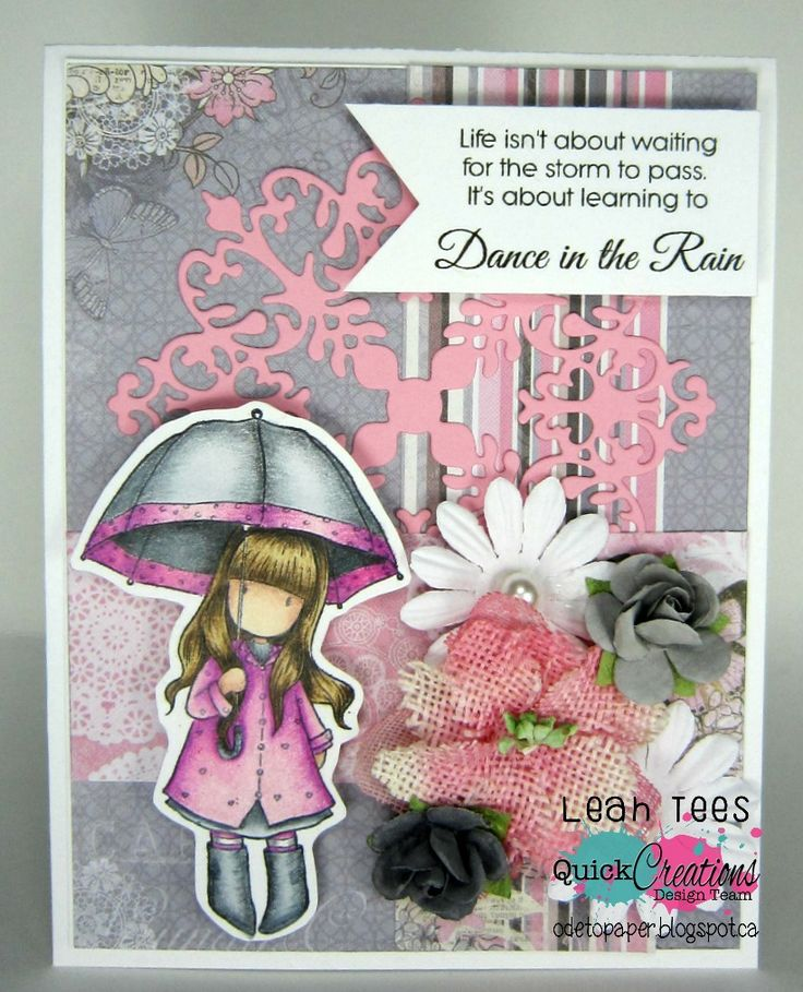 "Quick Creations Inspiration with Mini Gorjuss ""Puddles of Love"", August 2016, created by Leah Tees, odetopaper.blogspot.ca"