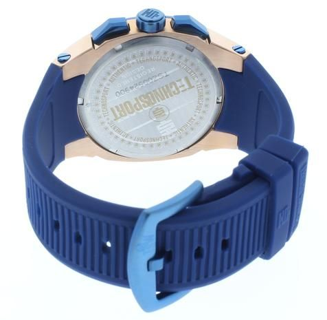 Technosport TS-100-PP7 Unisex Rose Gold & Blue Swiss Day/Date Watch Silicone Strap