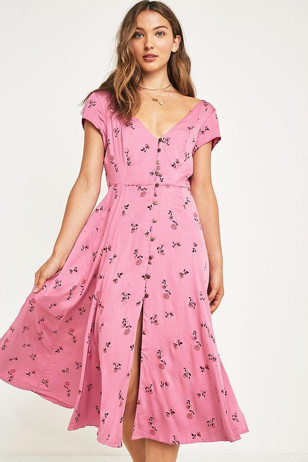b9b1e169ae65 UO Malena Pink Floral Button-Through Midi Dress in 2019 | Style ...