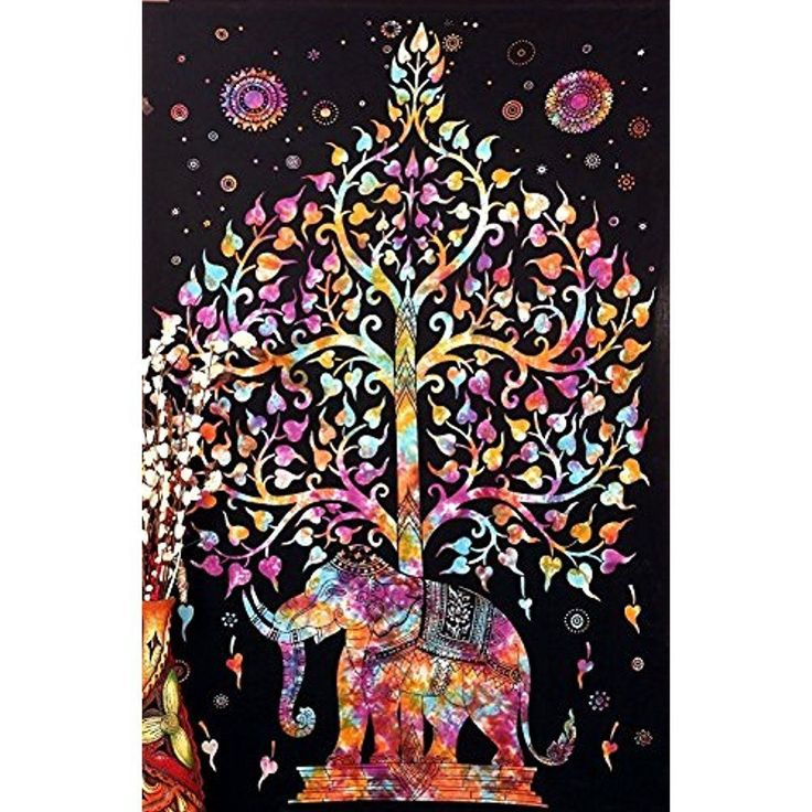 Handicraft Tree of Life Elephant Psychedelic Art Tapestry Wall Hanging Bedspread #PopularHandicrafts #IndianSouthAsian
