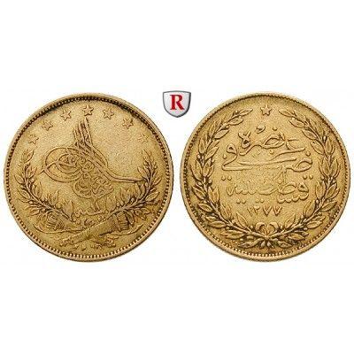 Osmanisches Reich, Abdul Aziz, 100 Piaster 1870 (AH 1287), 6,62 g fein, ss: Abdul Aziz 1861-1876. 100 Piaster 6,62 g fein, 1870 (AH… #coins