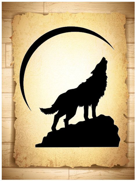 Vinyl Decal Howling Wolf at Crescent Moon by CozyCasaTreasures, $20.00