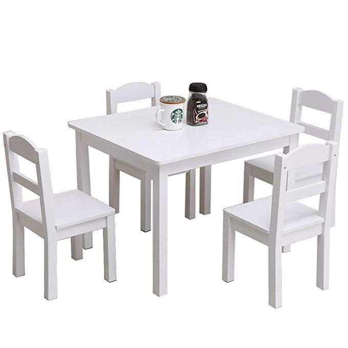 Amazon Com Thxbyebye Playroom Set Cartoon Art Inspired Kids Wooden Table 4 Chairs Indoor Ch Kids Wooden Table Wooden Table And Chairs Desk And Chair Set