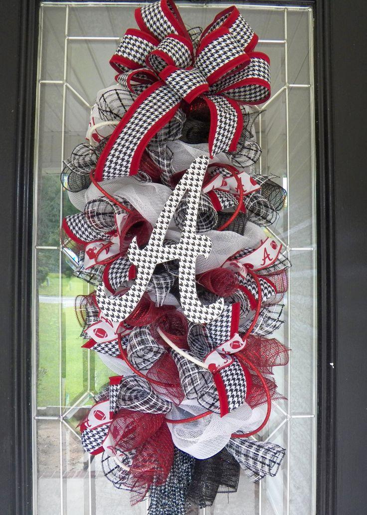 Alabama Football Door Hanger, Alabama Crimson Tide, Roll Tide, Alabama Football Wreath, Ready to Ship by OccasionsBoutique on Etsy