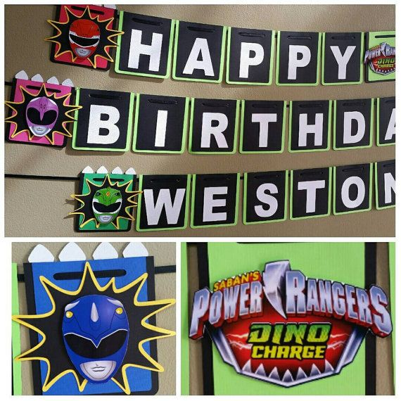 Power Rangers Banner, Power Rangers Dino Charge Banner, Power Rangers Birthday Party Check out this item in my Etsy shop https://www.etsy.com/listing/494669139/power-rangers-birthday-banner-power
