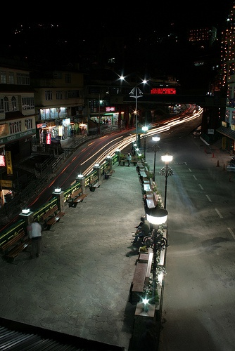 Gangtok town at night. This little seating area is called Titanics for its boat like shape.