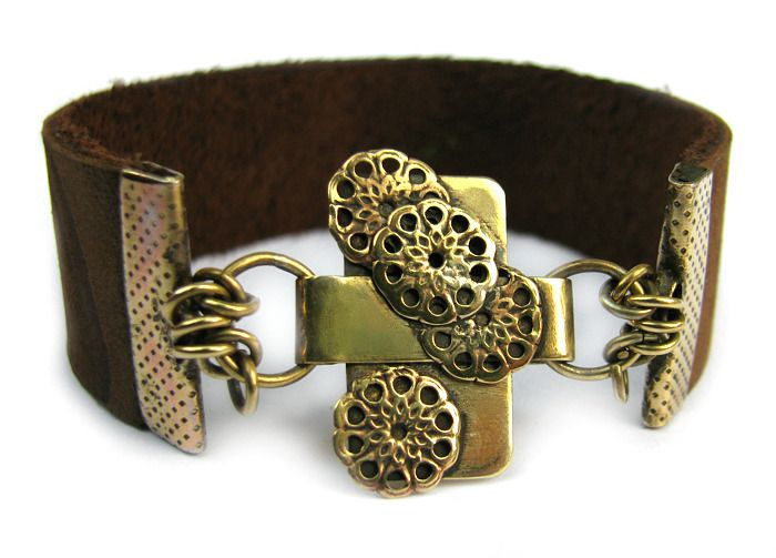 Leather and brass bracelet - totally handmade by my artist-friends for my 30th birthday <3