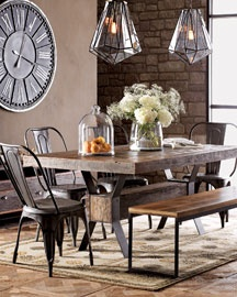 """""""Industrial"""" Dining Table Nieman Marcus    Dining table, bench, and sideboard are handcrafted in the USA from black steel and reclaimed demolition hardwoods with a natural wax finish.  Table, 72""""W x 41""""D x 30""""T."""