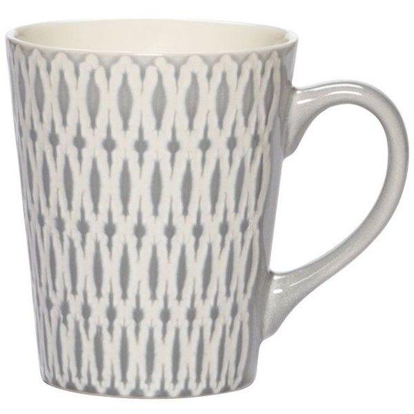 Aurora Grey Mug ($4.99) ❤ liked on Polyvore featuring home, kitchen & dining, drinkware, hot tea mug, tea mugs, grey mugs, dishwasher safe mugs and grey coffee mugs