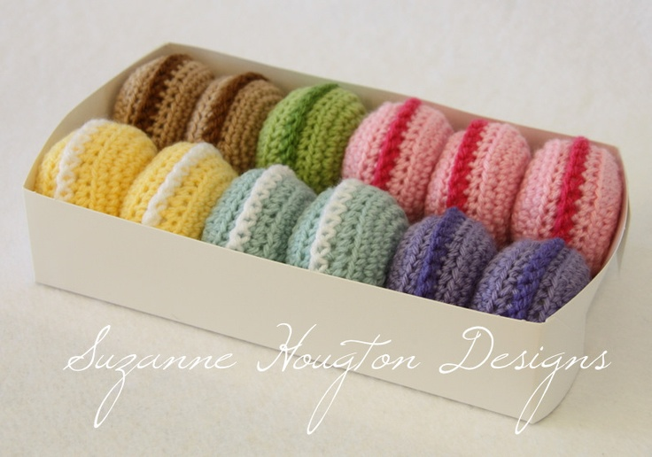 Crochet Macarons. Love the colours in these