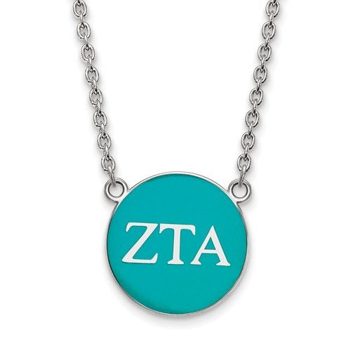 Zeta Tau Alpha Sorority Necklace: Our Zeta Tau Alpha Split Chain Necklace features the Zeta symbols on a turquoise enameled disc.