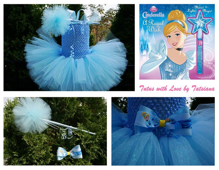 Beautiful Cinderella inspired tutu dress with the sparkle tulle. Additional accessories give it a special glow.