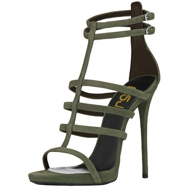 FSJ Women Sexy Gladiator Sandals T-Strap Open Toe Stiletto Heels for... ($55) ❤ liked on Polyvore featuring shoes, sandals, sexy sandals, heeled sandals, sexy stilettos, wide heel sandals and roman sandals