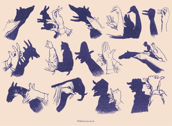 Hand Shadow Puppets Ombromania 1907 dictionary by wanderlustlounge, $2.75