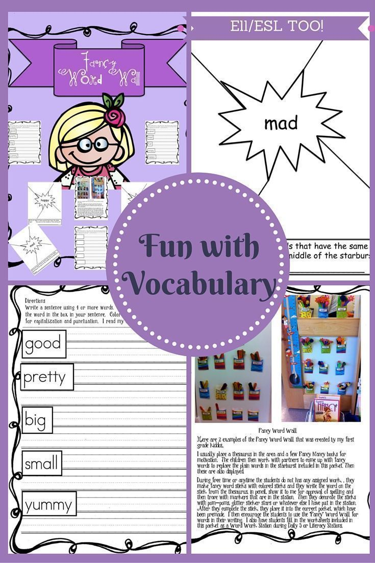 Fancy Word Wall I usually place a thesaurus in the area and a few Fancy Nancy books for motivation. The children then work with partners to come up with fancy words to replace the plain words in the starburst included in this packet. Then these are also d