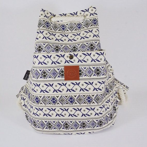 Leaf drawstring rope backpack