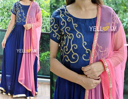 PINK BLOSSOM! Navy Blue georgette floor length Anarkali embroidered with golden beads and teamed with pink dupatta .