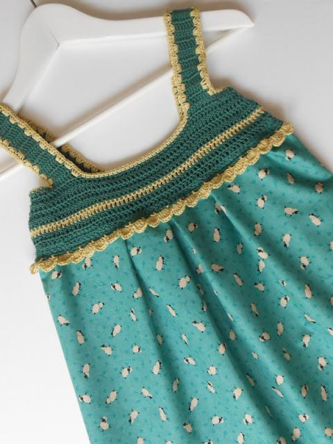 combining fabric and crochet in dresses