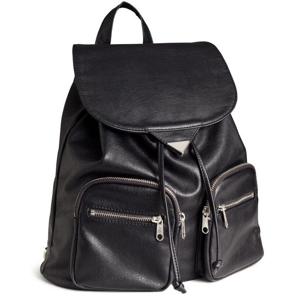 H&M Backpack (52 CAD) ❤ liked on Polyvore featuring bags, backpacks, bolsas, accessories, black, flap bag, snap bags, black backpack, black bag and backpacks bags