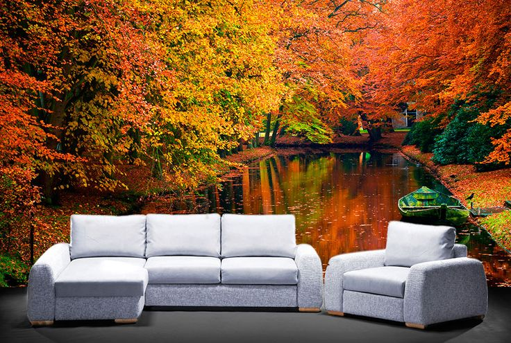 Autumn River Wall Mural - Moon Wall Stickers