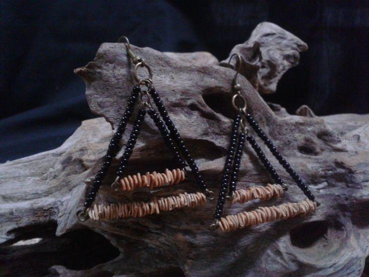 Mara-mara seeds Double triangle earrings