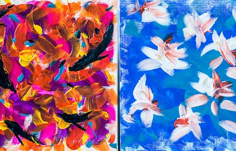 Toiles 1 et 2, « Dauphins et Nénuphars », Acrylique sur cartons rigides, 8 X 8, 2009, Disponibles