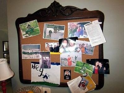 Framed cork board- Love this. I would want the frame to be a brighter bolder color though.