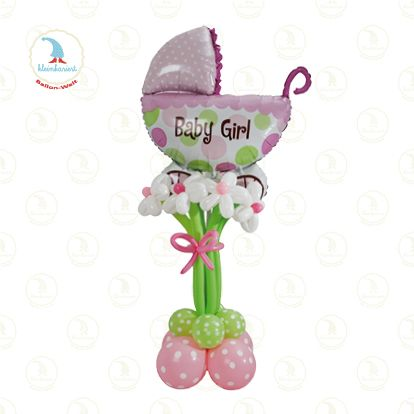 baby buggy with flowers