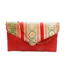 Buy Raw Silk Clutch with Multicoloured Traditional Design Flap (Red) clutch online