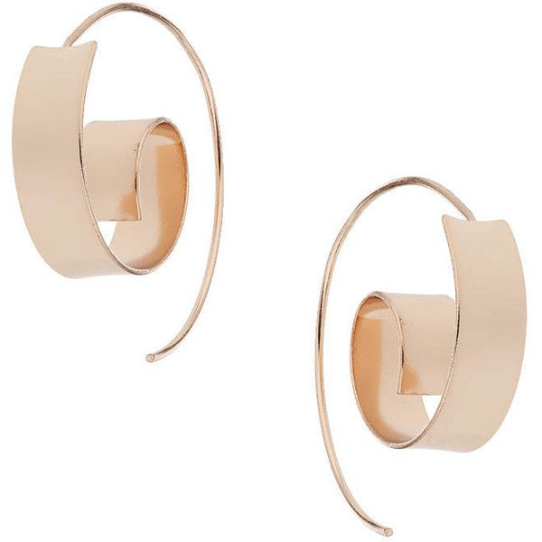TOPSHOP Swirl Thread-Through Earrings (13 CAD) ❤ liked on Polyvore featuring jewelry, earrings, rose gold, topshop, swirl earrings, topshop earrings and topshop jewelry