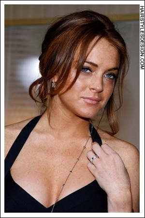 Details:  Hair Style: Lindsay Lohan has a loose and stylish updo. Her long hair has been styled up and off the shoulders giving her a romantic and sexy look. At the sides, strands of hair have been left long and curled.  Hair Cut: Lindsay's haircut is long.  Hair Colour: