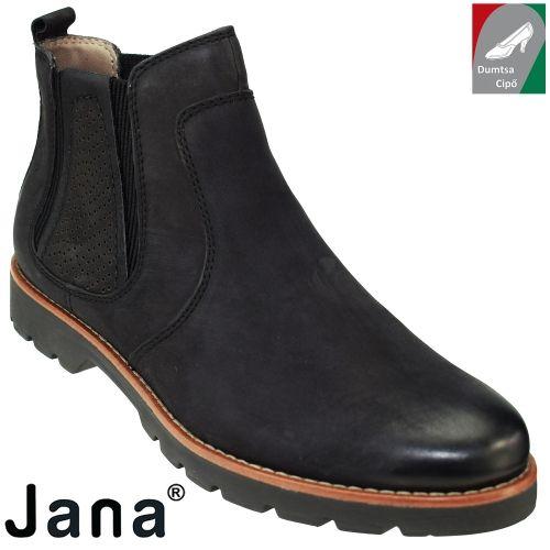Jana női bőr bokacsizma 8-25402-27 001 fekete