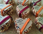 75 petite bird seed hearts with personalized tag, birdseed wedding favor, love birds. $75.00, via Etsy.