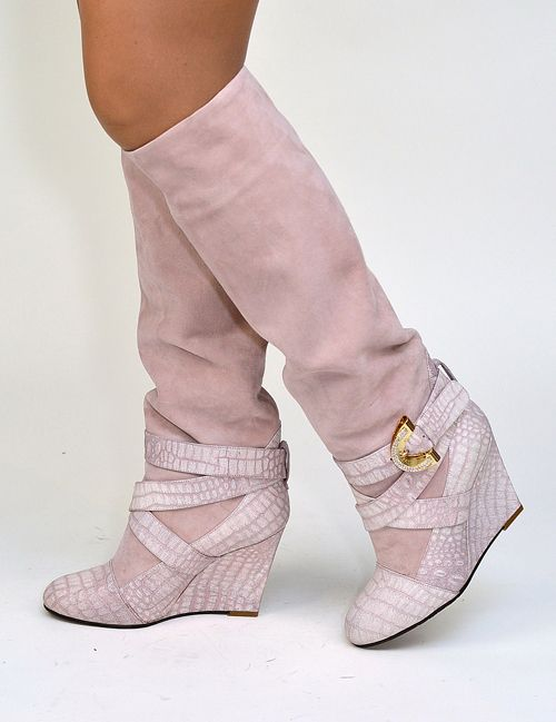 2716 #Dibrera - #Suede knee-high #wedge #boots. A sensual & feminine design. $765 on sale now! http://www.rinastore.com/2716-dibrera-boots-pink/dp/5294 Made in #Italy. Available at Rina's Boutique.