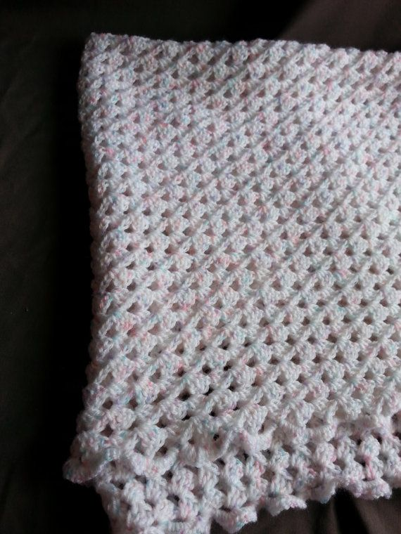 Baby blanket crochet white pink green lilac by CraftedbyKizzy