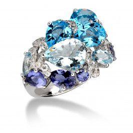 Bijuteria teilor: Inel diamante si acvamarin