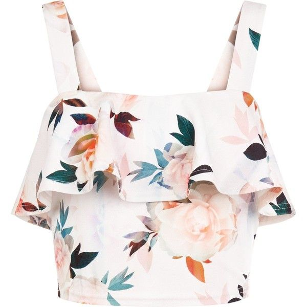 New Look Petite White Floral Print Frill Crop Top ($26) ❤ liked on Polyvore featuring tops, white ruffle top, flounce tops, crop top, white floral top and petite tops