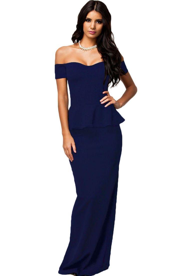 2016 New women dress 3 colors Sexy Peplum Maxi Dress With Drop shoulder Long Dress LC6244 plus size M L XL XXL
