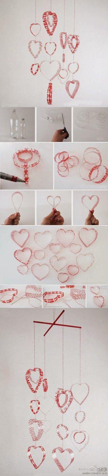 Móvil de corazones hechos de botellas de plástico recicladas  -  Mobile of hearts made of recycled plastic bottles:
