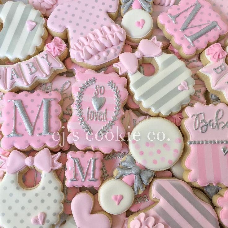 "410 Likes, 8 Comments - CJ's Cookie Co. (@cjscookieco) on Instagram: ""Pink and silver shower set  #decoratedcookies #sugarcookies #edibleart #sugarart #icingcookies…"""