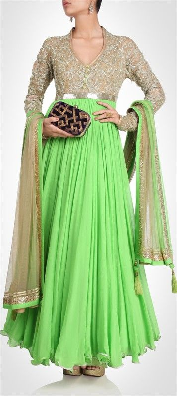 406774, Party Wear Salwar Kameez, Chiffon, Stone, Bugle Beads, Sequence, Green, Beige and Brown Color Family