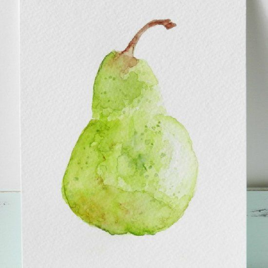 A free tutorial on how to paint a pear with watercolors. An easy step-by-step guide to beginning watercolor painting.