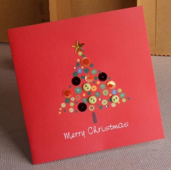 Weihnachtskarten Mit Knöpfen.Schöne Weihnachtskarten Selber Basteln Mehr Als 100 Ideen