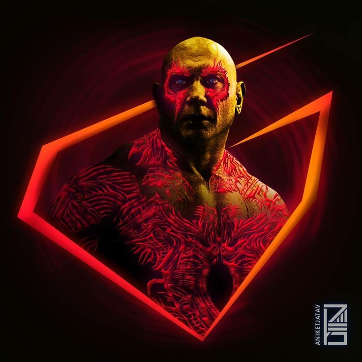 Drax:Marvel Neon Potraits Painting